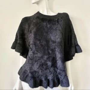 Do Everything in Love Fuzzy Black Cape Sweater with Frill Hem